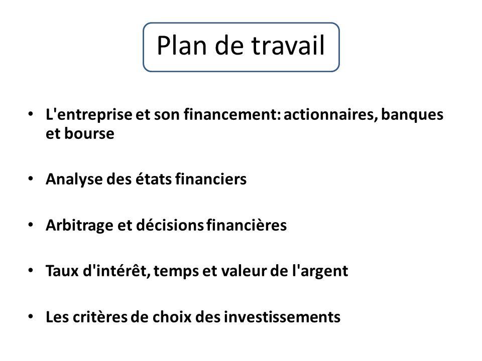 Plan de travail L'entreprise et son financement: actionnaires, banques et bourse Analyse des états financiers Arbitrage et décisions financières Taux