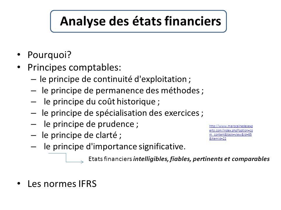 Pourquoi? Principes comptables: – le principe de continuité d'exploitation ; – le principe de permanence des méthodes ; – le principe du coût historiq