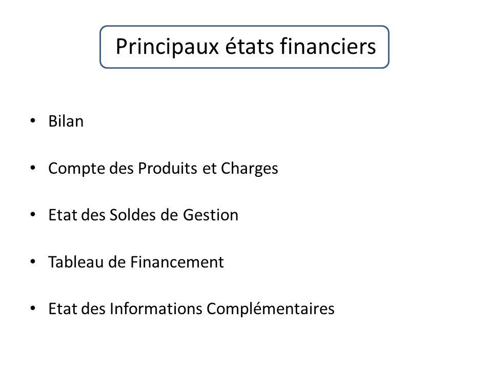 Principaux états financiers Bilan Compte des Produits et Charges Etat des Soldes de Gestion Tableau de Financement Etat des Informations Complémentaires