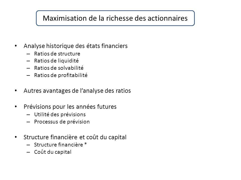 Maximisation de la richesse des actionnaires Analyse historique des états financiers – Ratios de structure – Ratios de liquidité – Ratios de solvabili