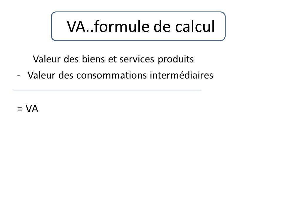 VA..formule de calcul Valeur des biens et services produits -Valeur des consommations intermédiaires = VA