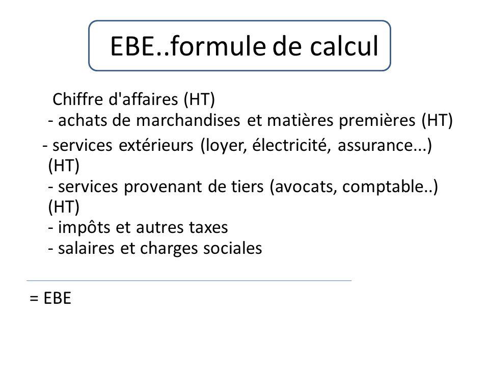 EBE..formule de calcul Chiffre d affaires (HT) - achats de marchandises et matières premières (HT) - services extérieurs (loyer, électricité, assurance...) (HT) - services provenant de tiers (avocats, comptable..) (HT) - impôts et autres taxes - salaires et charges sociales = EBE