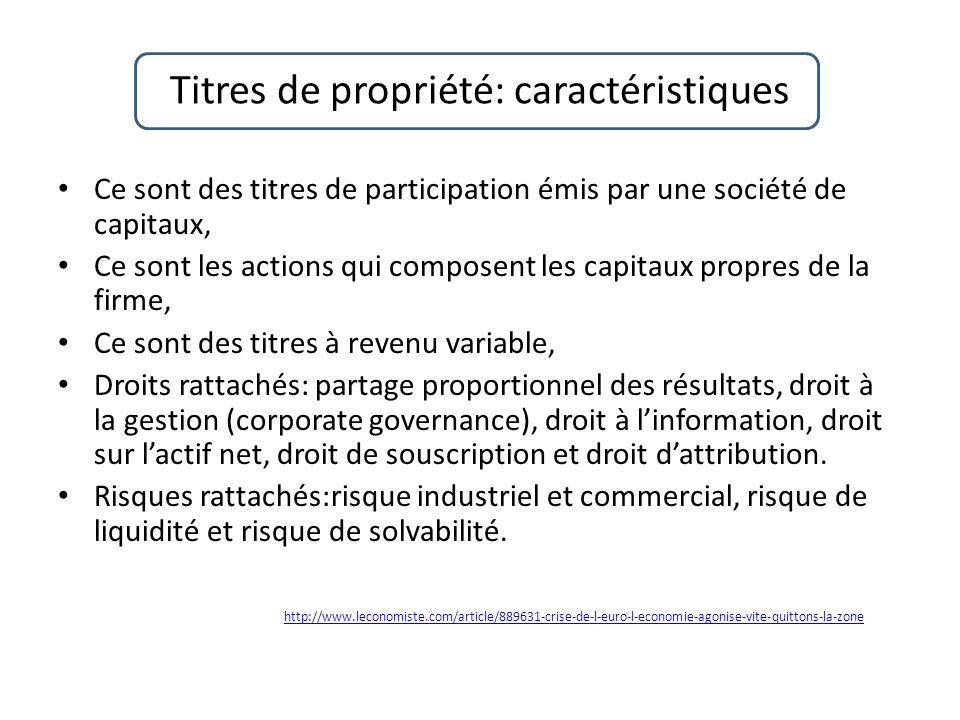 Titres de propriété: caractéristiques Ce sont des titres de participation émis par une société de capitaux, Ce sont les actions qui composent les capi