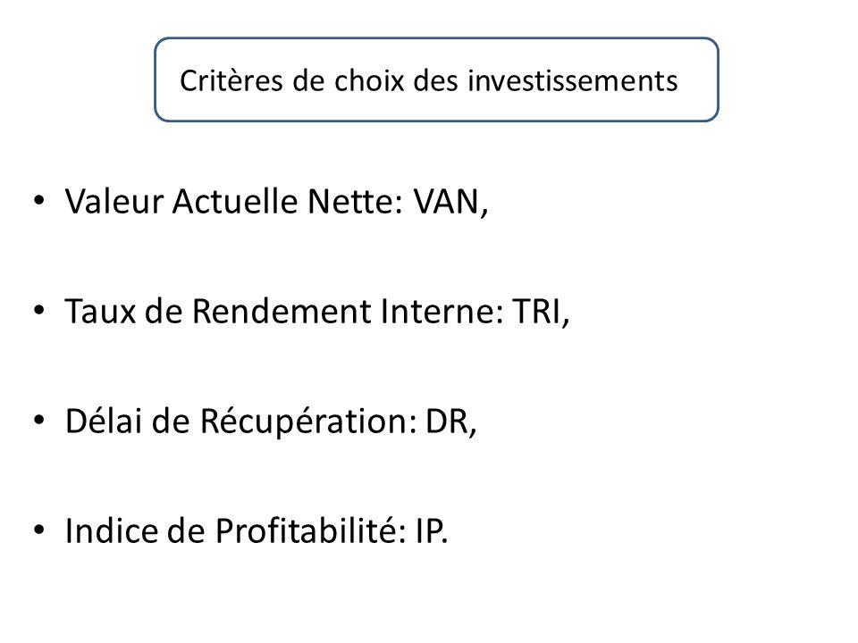 Critères de choix des investissements Valeur Actuelle Nette: VAN, Taux de Rendement Interne: TRI, Délai de Récupération: DR, Indice de Profitabilité:
