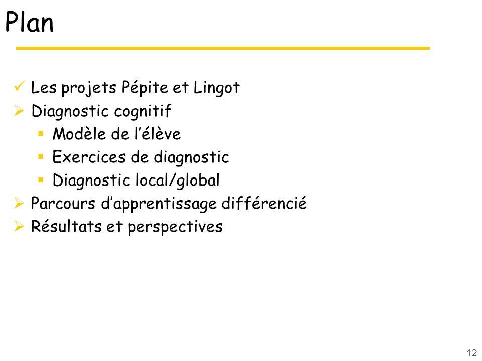 Plan Les projets Pépite et Lingot Diagnostic cognitif Modèle de lélève Exercices de diagnostic Diagnostic local/global Parcours dapprentissage différencié Résultats et perspectives 12