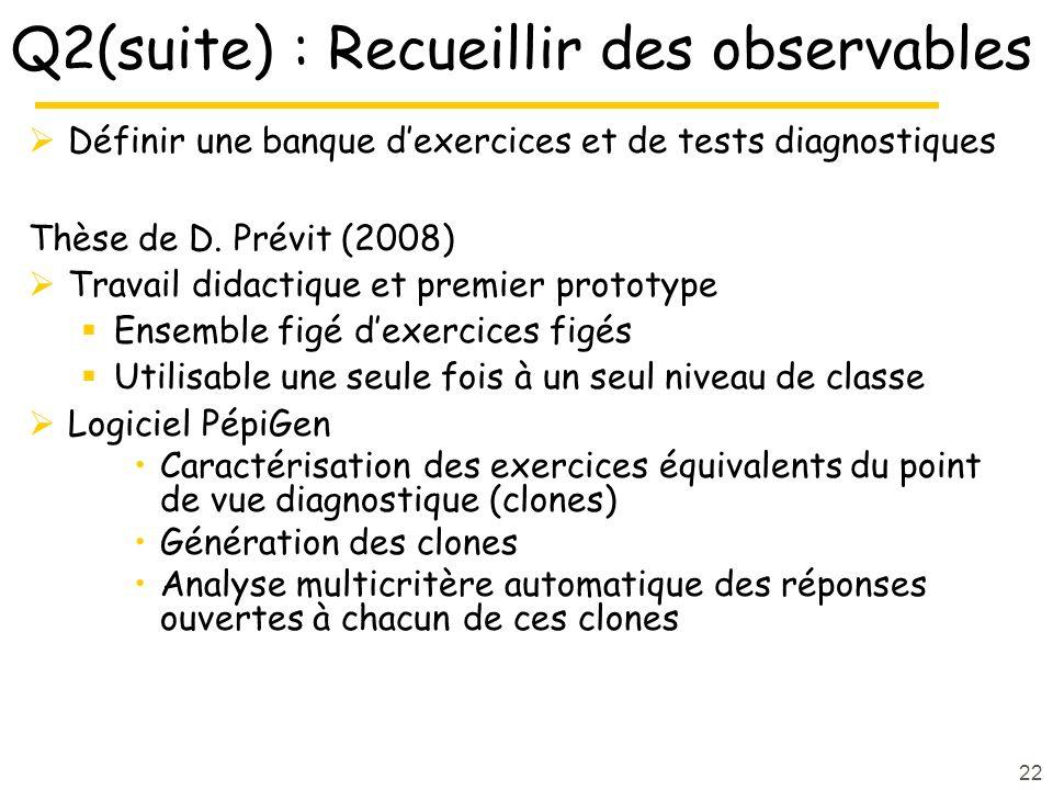 Q2(suite) : Recueillir des observables Définir une banque dexercices et de tests diagnostiques Thèse de D.