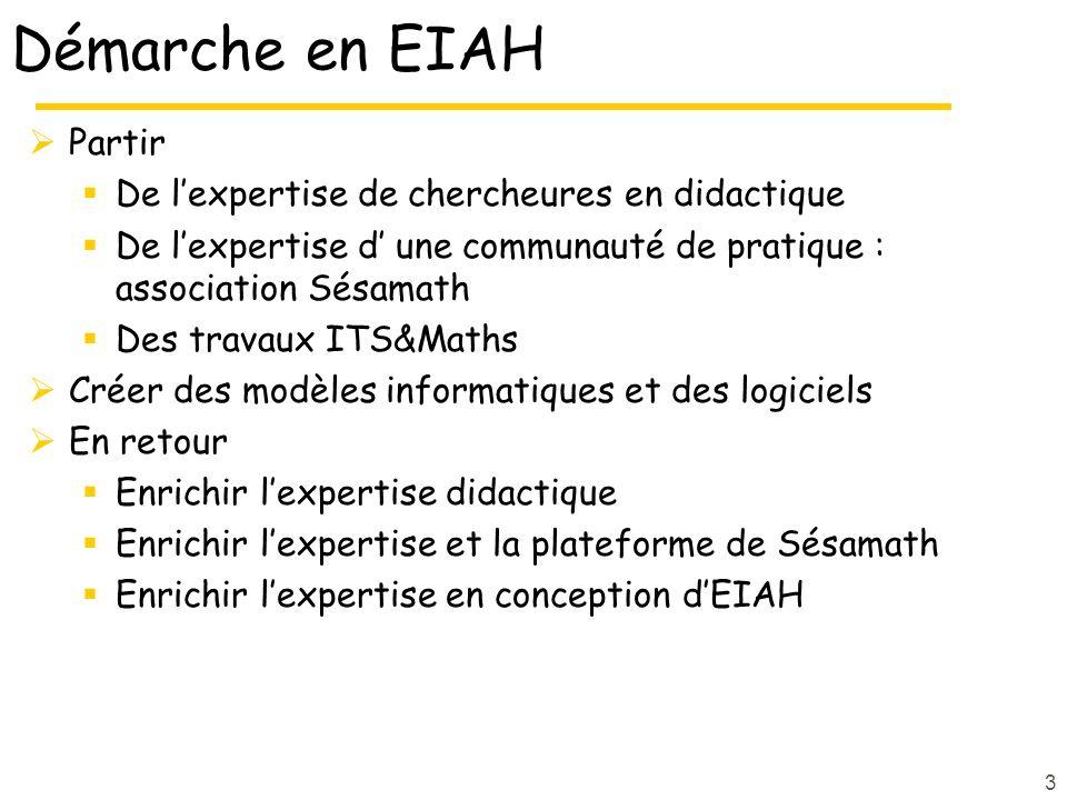 Démarche en EIAH Partir De lexpertise de chercheures en didactique De lexpertise d une communauté de pratique : association Sésamath Des travaux ITS&M