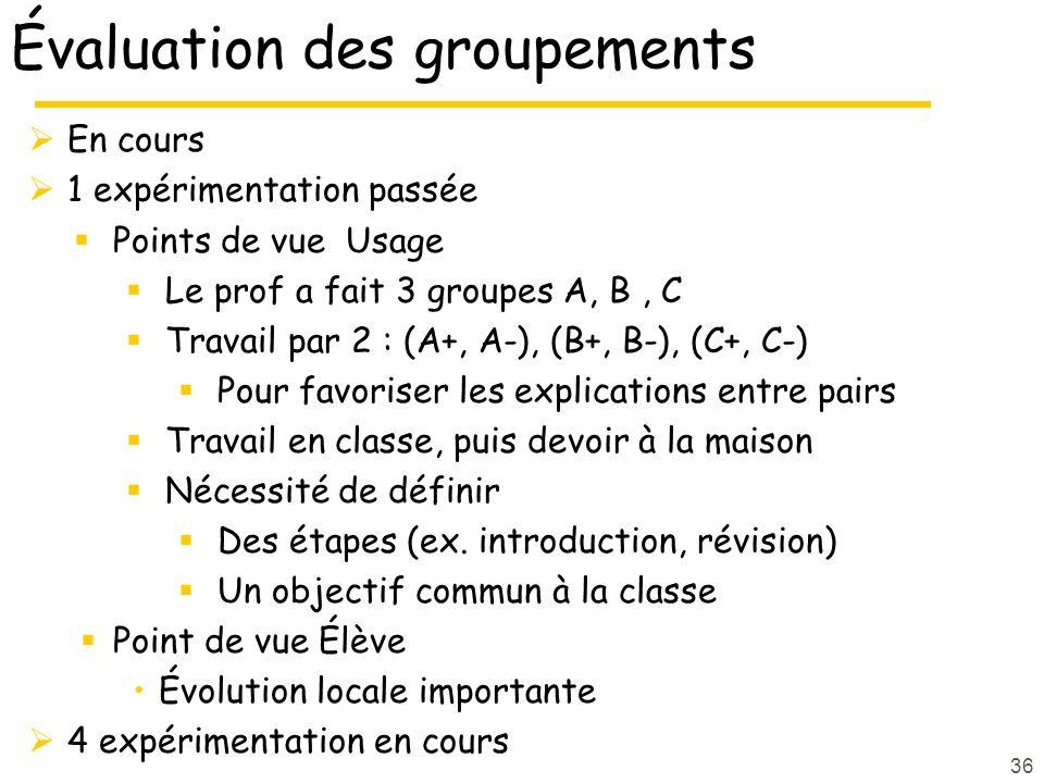Évaluation des groupements En cours 1 expérimentation passée Points de vue Usage Le prof a fait 3 groupes A, B, C Travail par 2 : (A+, A-), (B+, B-), (C+, C-) Pour favoriser les explications entre pairs Travail en classe, puis devoir à la maison Nécessité de définir Des étapes (ex.