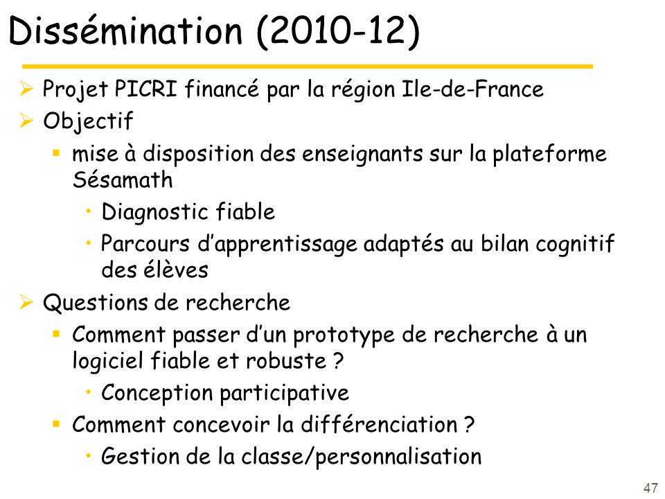 Dissémination (2010-12) Projet PICRI financé par la région Ile-de-France Objectif mise à disposition des enseignants sur la plateforme Sésamath Diagno