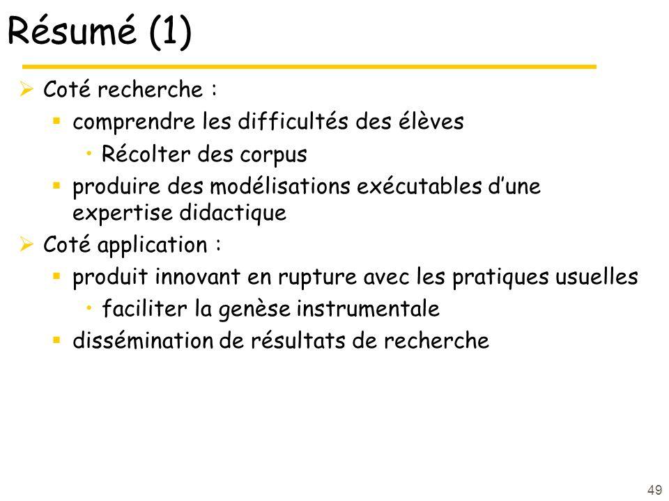 49 Résumé (1) Coté recherche : comprendre les difficultés des élèves Récolter des corpus produire des modélisations exécutables dune expertise didacti