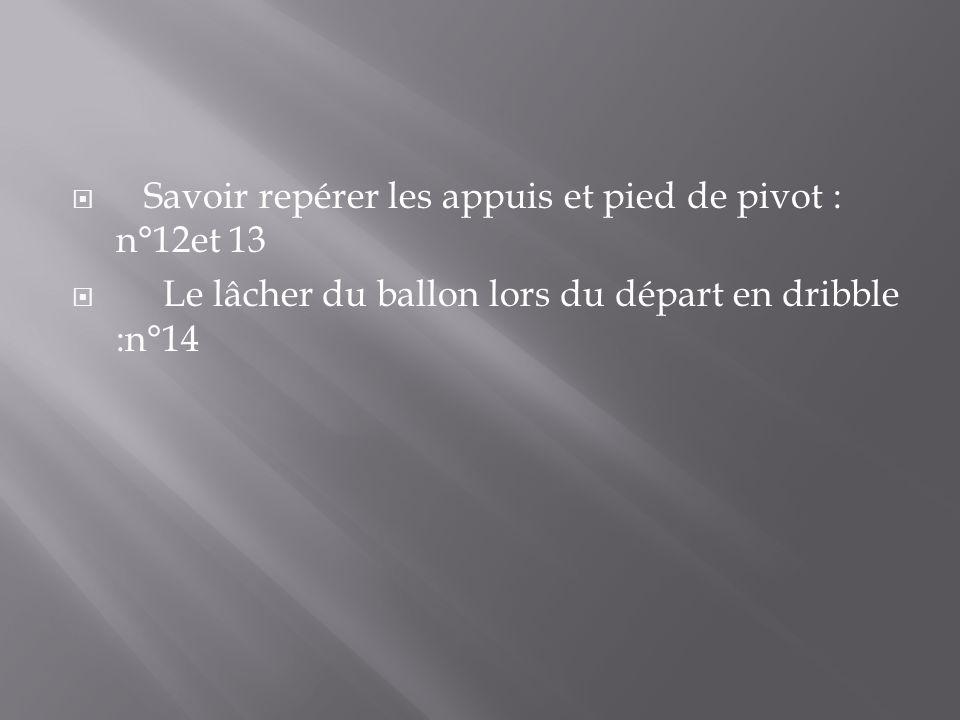 Savoir repérer les appuis et pied de pivot : n°12et 13 Le lâcher du ballon lors du départ en dribble :n°14