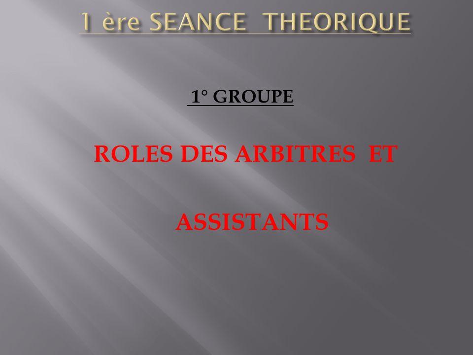 1° GROUPE ROLES DES ARBITRES ET ASSISTANTS