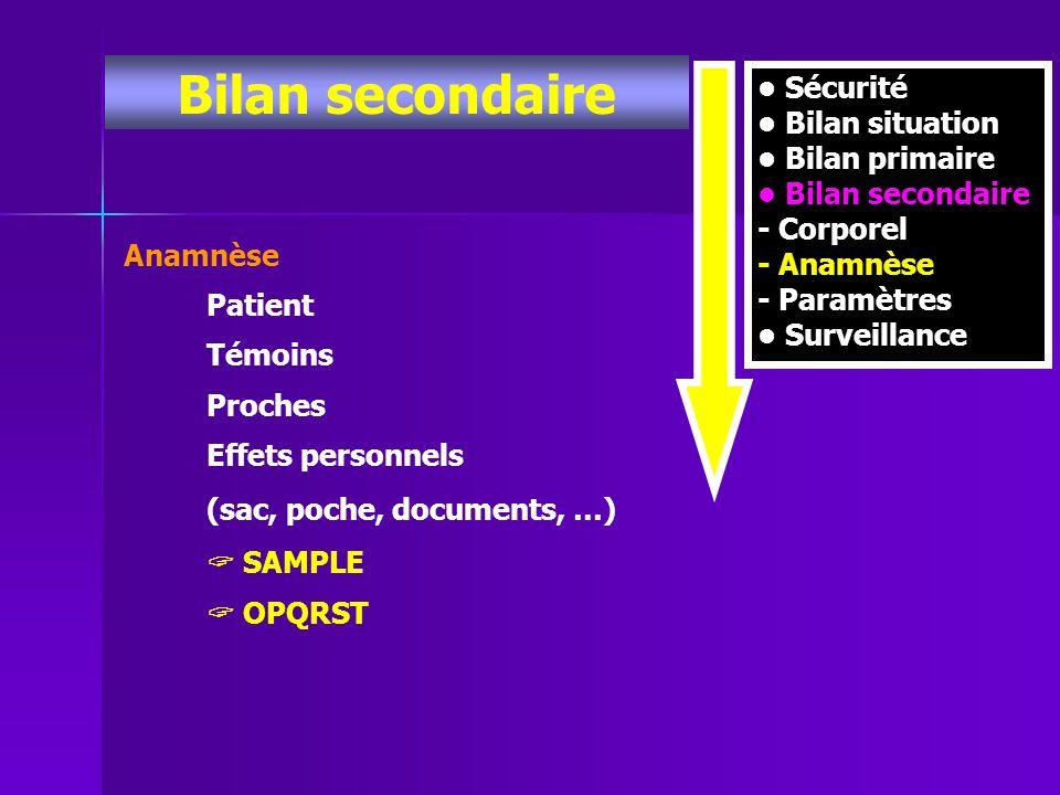 Bilan secondaire Sécurité Bilan situation Bilan primaire Bilan secondaire - Corporel - Anamnèse - Paramètres Surveillance Anamnèse Patient Témoins Pro