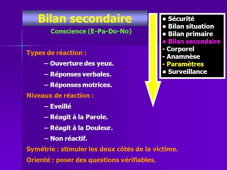 Bilan secondaire Conscience (E-Pa-Do-No) Sécurité Bilan situation Bilan primaire Bilan secondaire - Corporel - Anamnèse - Paramètres Surveillance Type