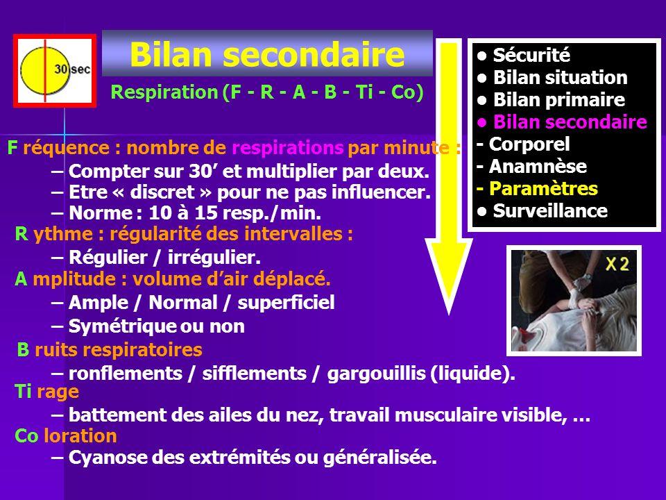 Sécurité Bilan situation Bilan primaire Bilan secondaire - Corporel - Anamnèse - Paramètres Surveillance Bilan secondaire Respiration (F - R - A - B -