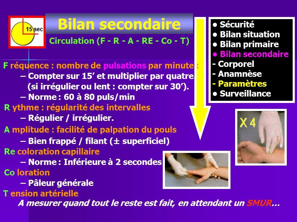 Sécurité Bilan situation Bilan primaire Bilan secondaire - Corporel - Anamnèse - Paramètres Surveillance Circulation (F - R - A - RE - Co - T) F réque
