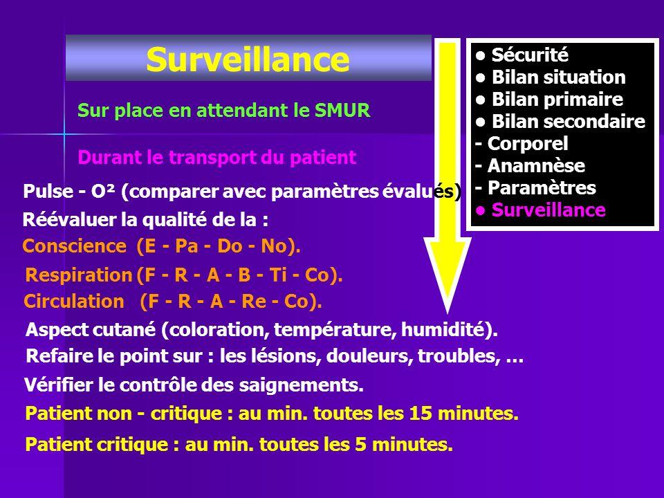 Sécurité Bilan situation Bilan primaire Bilan secondaire - Corporel - Anamnèse - Paramètres Surveillance Sur place en attendant le SMUR Durant le tran