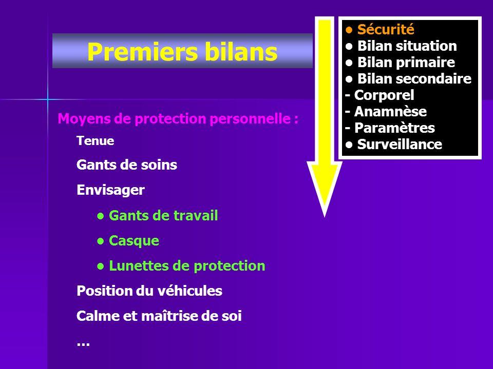Premiers bilans Moyens de protection personnelle : Tenue Gants de soins Envisager Gants de travail Casque Lunettes de protection Position du véhicules