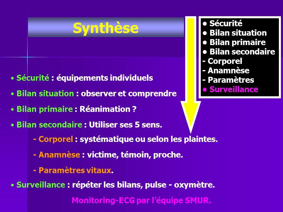 Sécurité Bilan situation Bilan primaire Bilan secondaire - Corporel - Anamnèse - Paramètres Surveillance Synthèse Sécurité : équipements individuels B