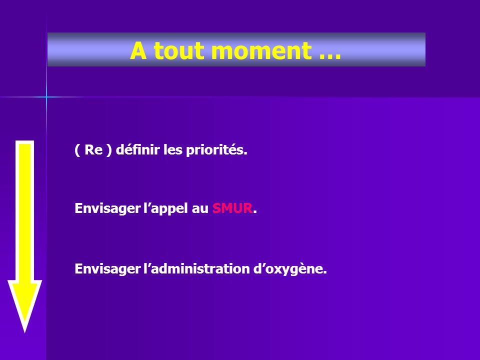 A tout moment … ( Re ) définir les priorités. Envisager lappel au SMUR. Envisager ladministration doxygène.
