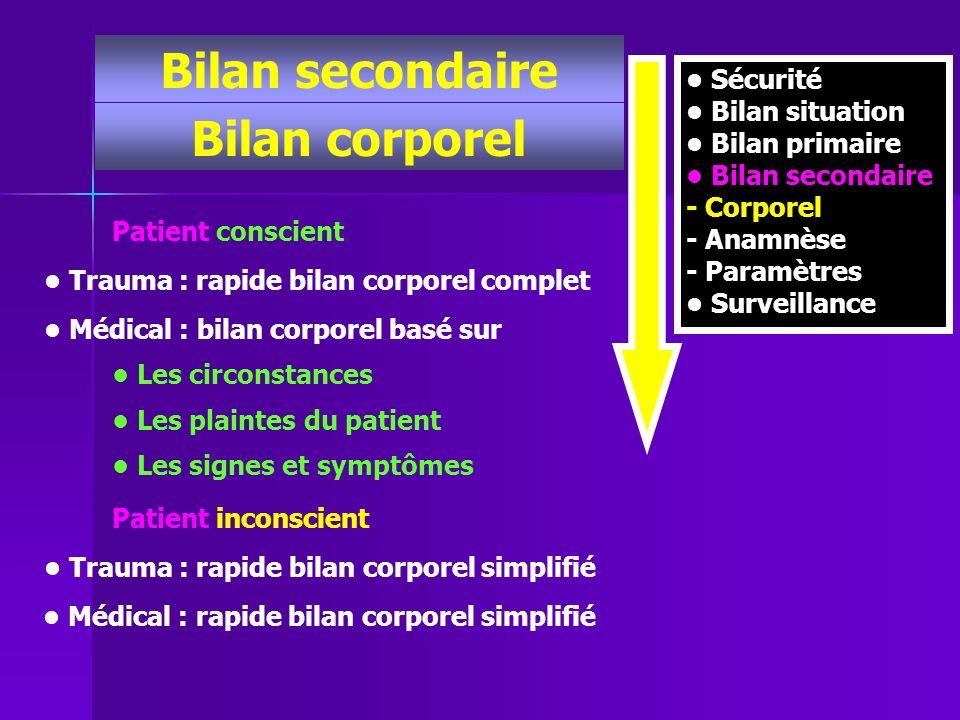 Bilan secondaire Bilan corporel Sécurité Bilan situation Bilan primaire Bilan secondaire - Corporel - Anamnèse - Paramètres Surveillance Patient consc