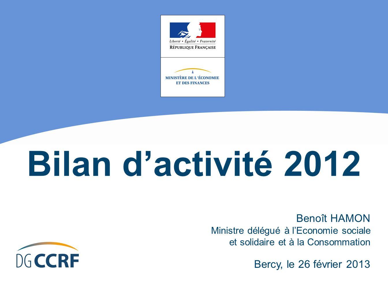 Bilan dactivité 2012 Benoît HAMON Ministre délégué à lEconomie sociale et solidaire et à la Consommation Bercy, le 26 février 2013