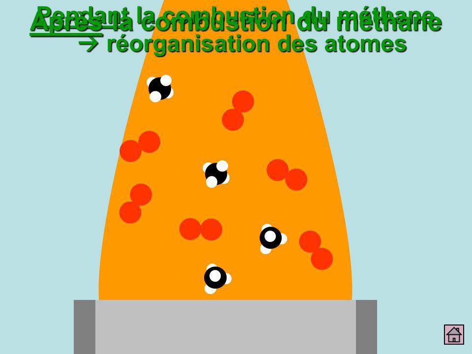 Pendant la combustion du méthane réorganisation des atomes Après la combustion du méthane