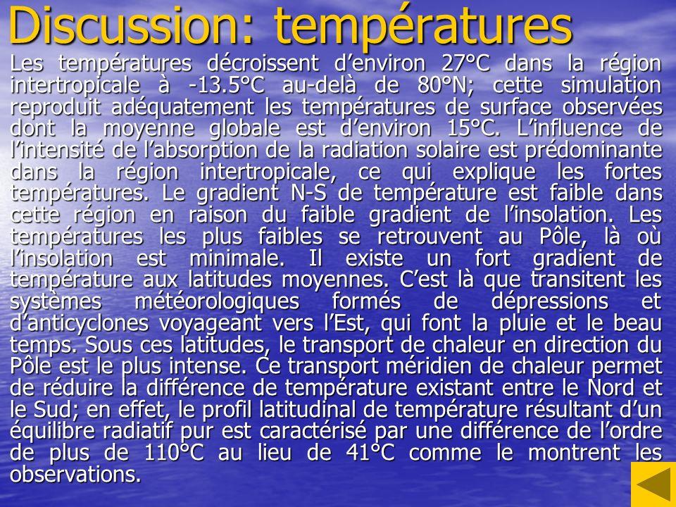 Discussion: températures Les températures décroissent denviron 27°C dans la région intertropicale à -13.5°C au-delà de 80°N; cette simulation reproduit adéquatement les températures de surface observées dont la moyenne globale est denviron 15°C.