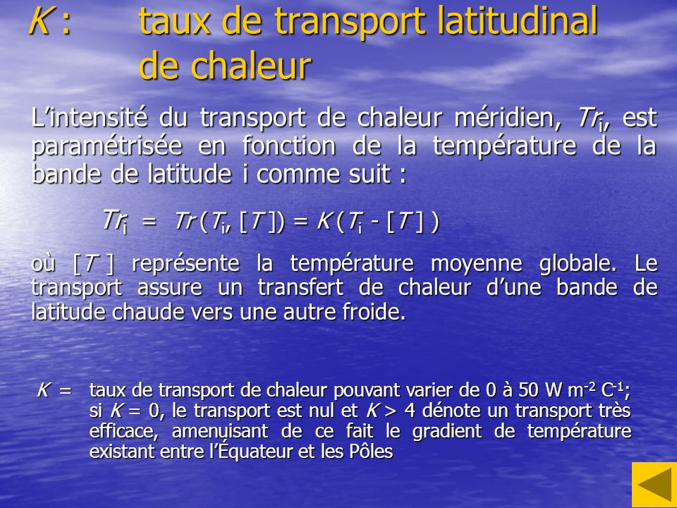 K :taux de transport latitudinal de chaleur Lintensité du transport de chaleur méridien, Tr i, est paramétrisée en fonction de la température de la ba