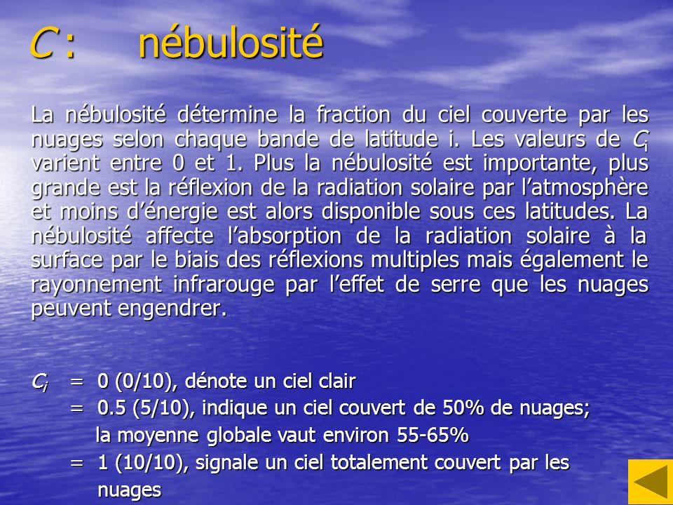 C :nébulosité La nébulosité détermine la fraction du ciel couverte par les nuages selon chaque bande de latitude i. Les valeurs de C i varient entre 0