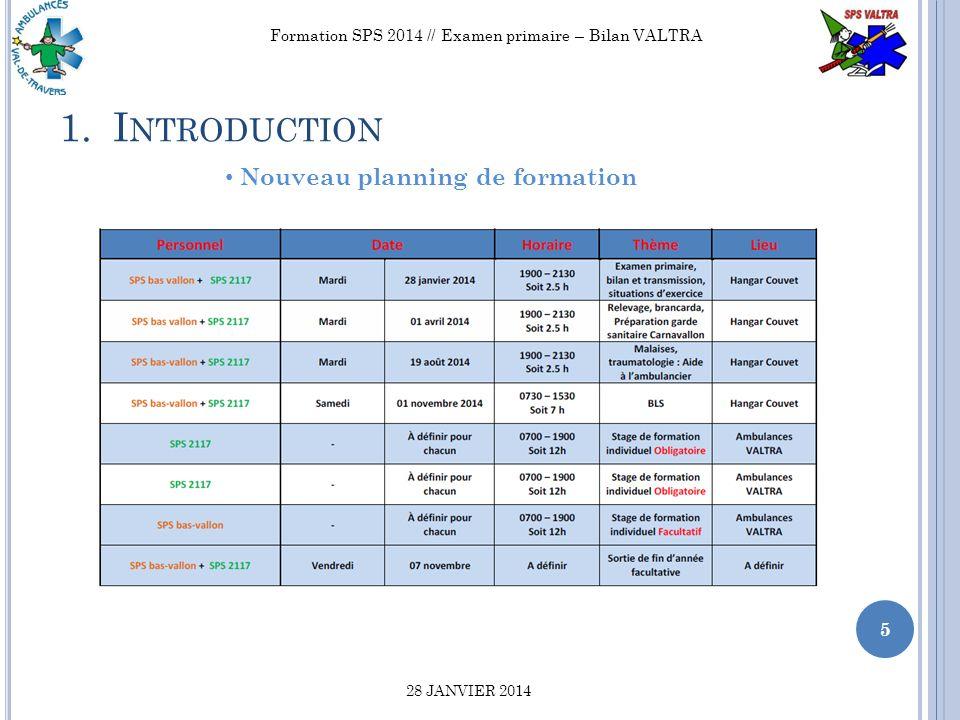 2.B UTS ET OBJECTIFS DE LA SOIRÉE 6 Formation SPS 2014 // Examen primaire – Bilan VALTRA 28 JANVIER 2014