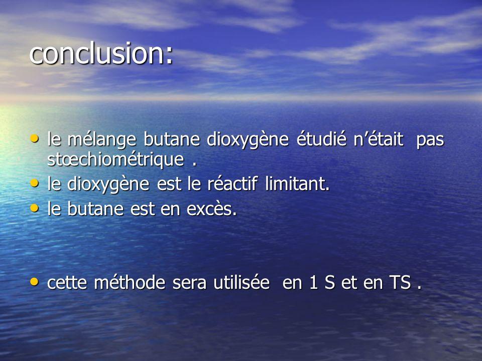 conclusion: le mélange butane dioxygène étudié nétait pas stœchiométrique.
