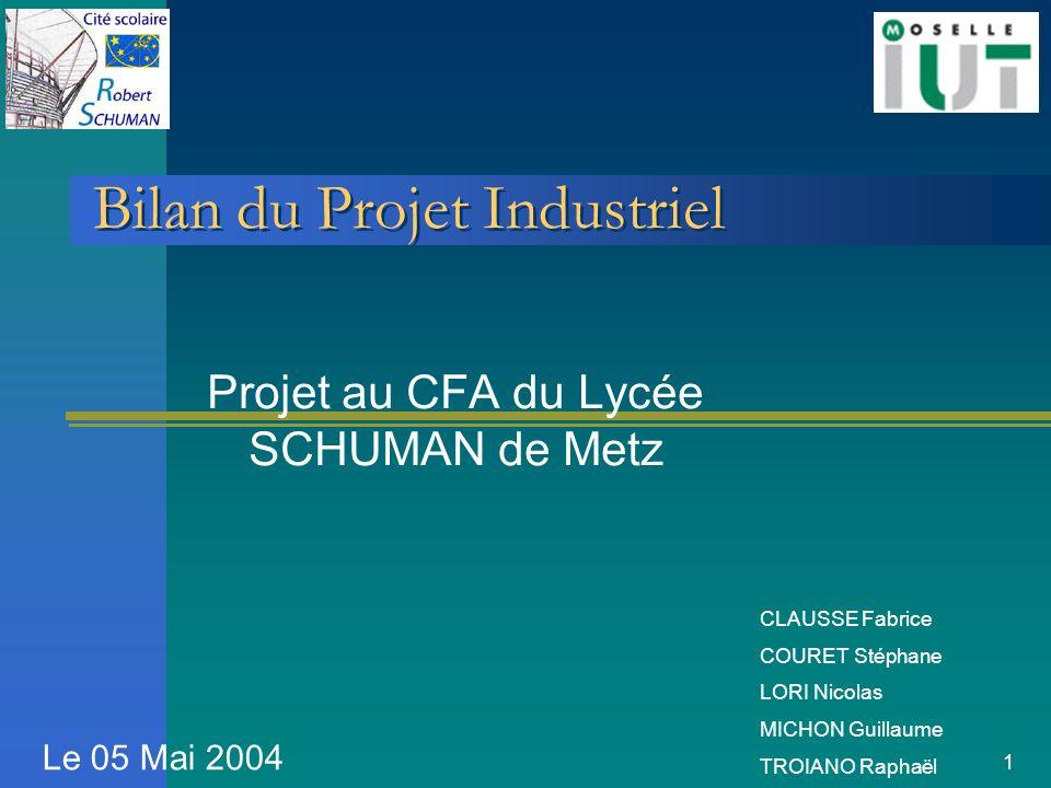 1 Bilan du Projet Industriel Projet au CFA du Lycée SCHUMAN de Metz Le 05 Mai 2004 CLAUSSE Fabrice COURET Stéphane LORI Nicolas MICHON Guillaume TROIA