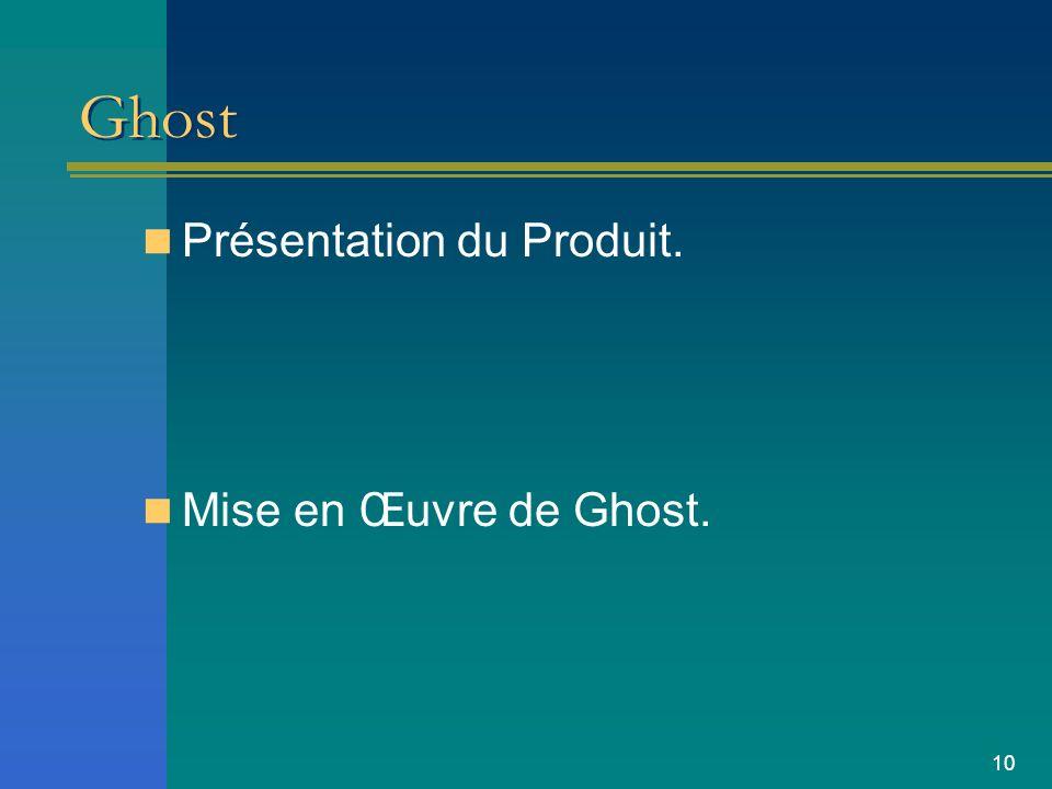 10 Ghost Présentation du Produit. Mise en Œuvre de Ghost.