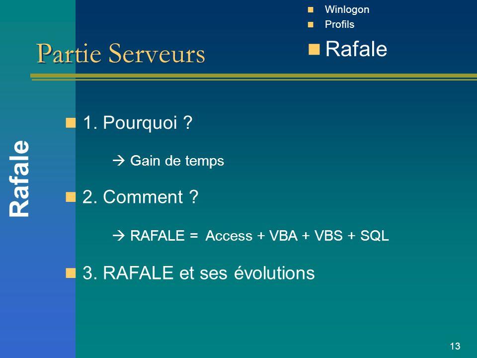 13 Partie Serveurs 1. Pourquoi ? Rafale Winlogon Profils Rafale Gain de temps 2. Comment ? RAFALE = Access + VBA + VBS + SQL 3. RAFALE et ses évolutio