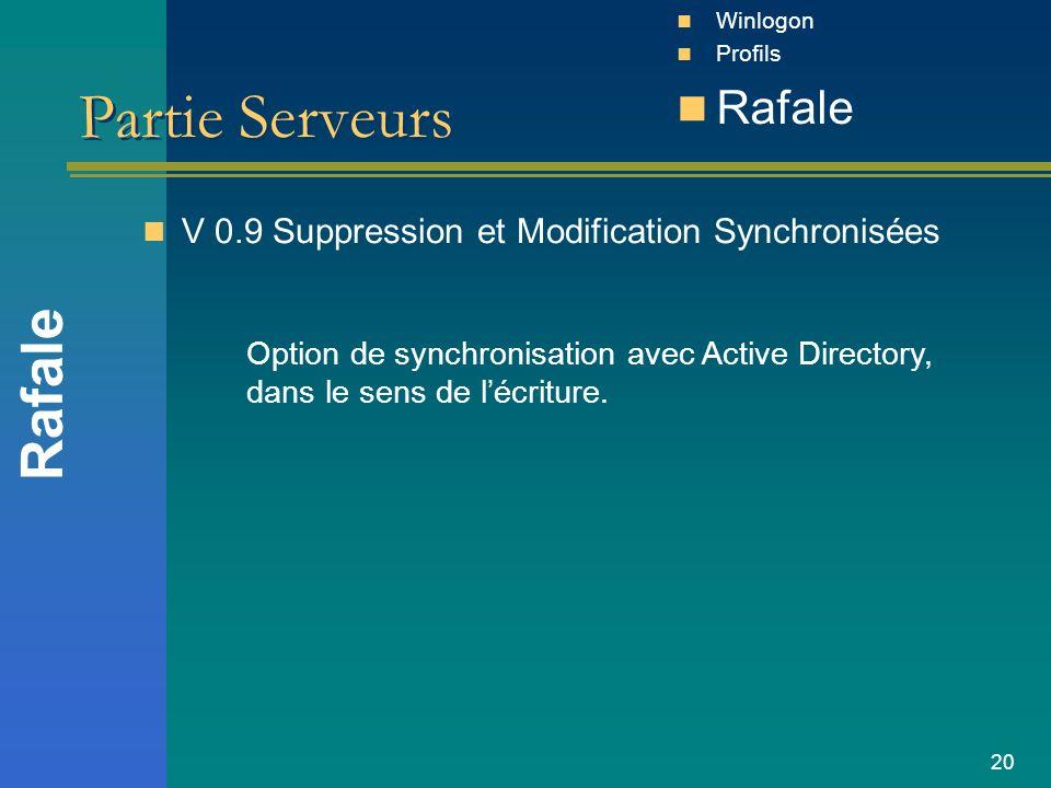 20 Partie Serveurs V 0.9 Suppression et Modification Synchronisées Rafale Winlogon Profils Rafale Option de synchronisation avec Active Directory, dan