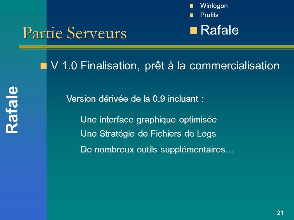 21 Partie Serveurs V 1.0 Finalisation, prêt à la commercialisation Rafale Winlogon Profils Rafale Version dérivée de la 0.9 incluant : Une interface g