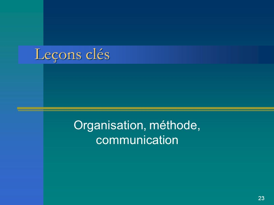 23 Leçons clés Organisation, méthode, communication