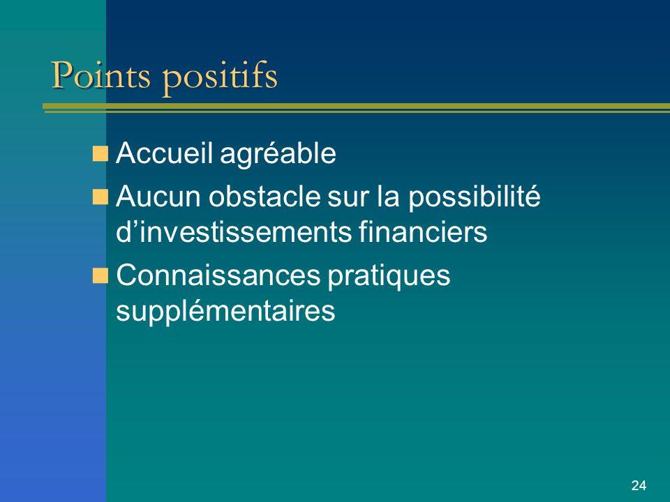 24 Points positifs Accueil agréable Aucun obstacle sur la possibilité dinvestissements financiers Connaissances pratiques supplémentaires