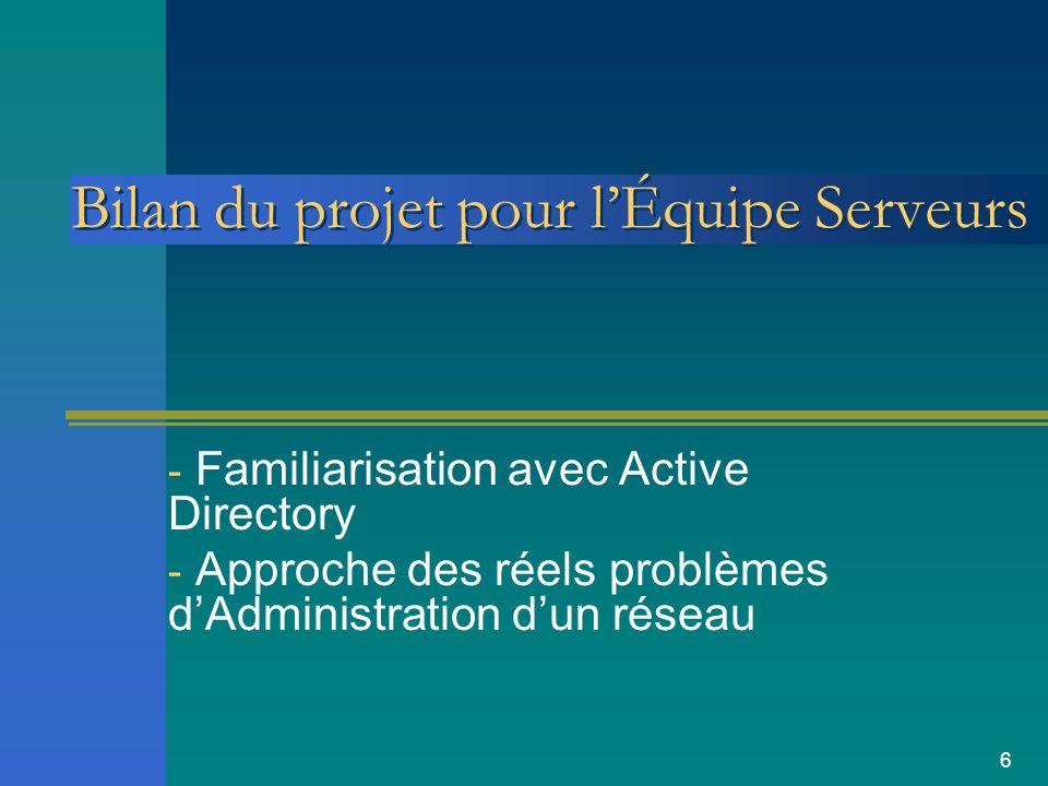 6 Bilan du projet pour lÉquipe Serveurs - Familiarisation avec Active Directory - Approche des réels problèmes dAdministration dun réseau