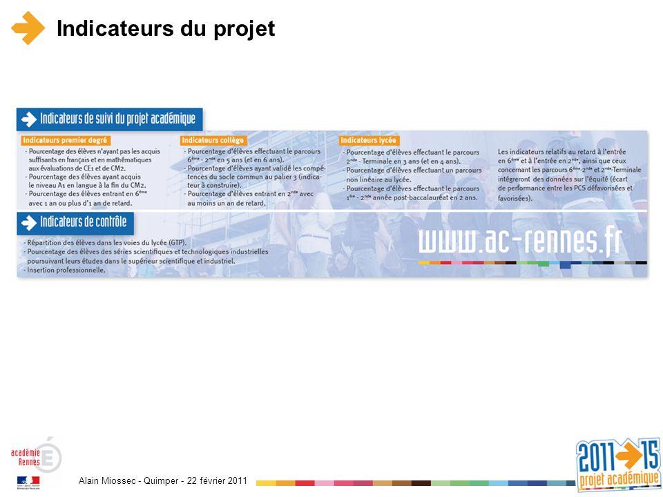 Alain Miossec - Quimper - 22 février 2011 Indicateurs du projet