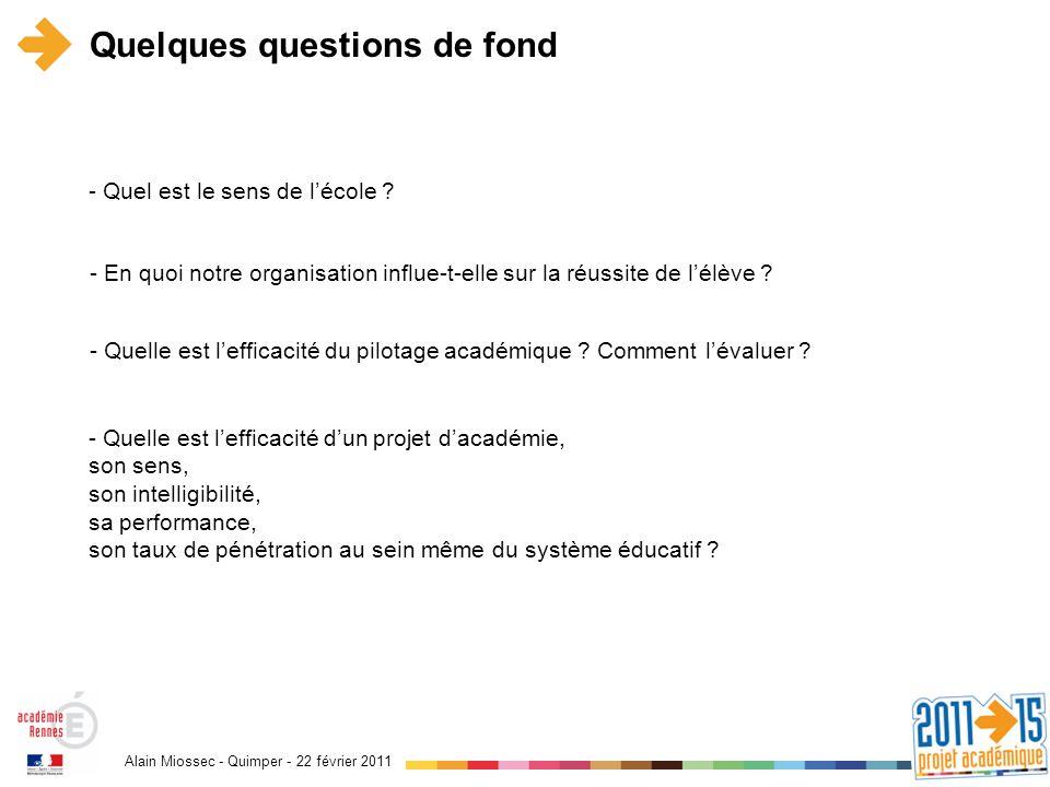 Alain Miossec - Quimper - 22 février 2011 Quelques questions de fond - En quoi notre organisation influe-t-elle sur la réussite de lélève ? - Quelle e