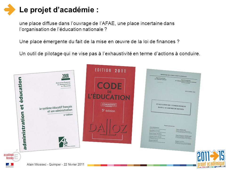 Alain Miossec - Quimper - 22 février 2011 Le projet dacadémie : une place diffuse dans louvrage de lAFAE, une place incertaine dans lorganisation de léducation nationale .