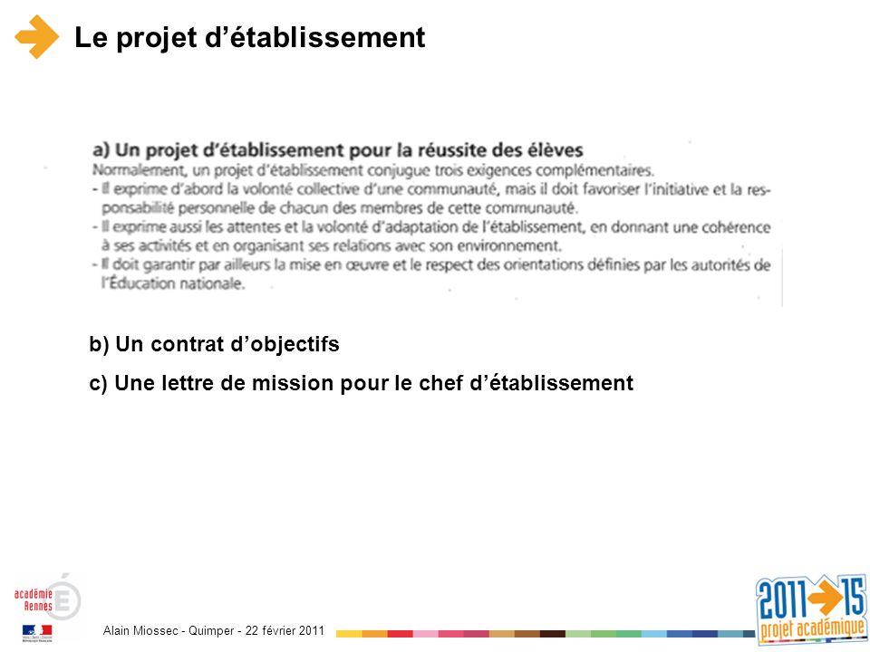 Alain Miossec - Quimper - 22 février 2011 Le projet détablissement b) Un contrat dobjectifs c) Une lettre de mission pour le chef détablissement