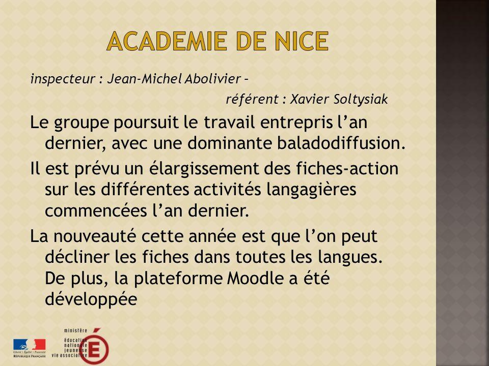 inspecteur : Jean-Michel Abolivier – référent : Xavier Soltysiak Le groupe poursuit le travail entrepris lan dernier, avec une dominante baladodiffusion.