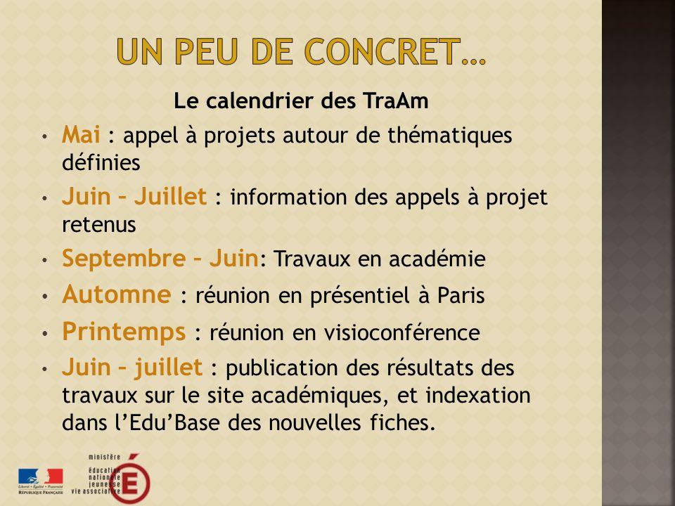 Le calendrier des TraAm Mai : appel à projets autour de thématiques définies Juin – Juillet : information des appels à projet retenus Septembre – Juin