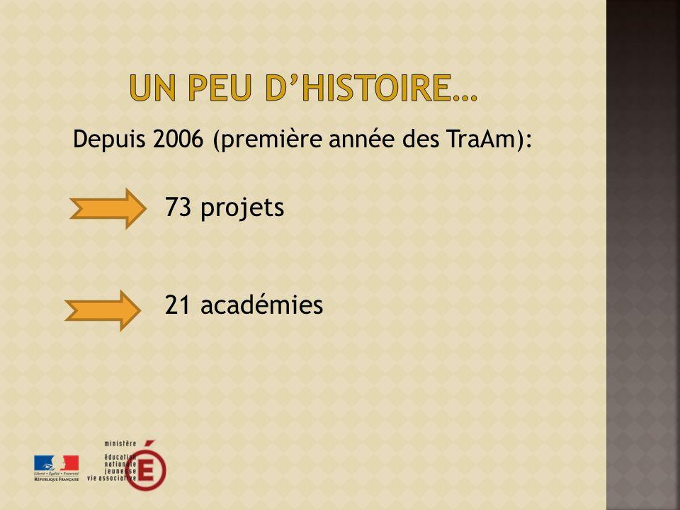 Depuis 2006 (première année des TraAm): 73 projets 21 académies