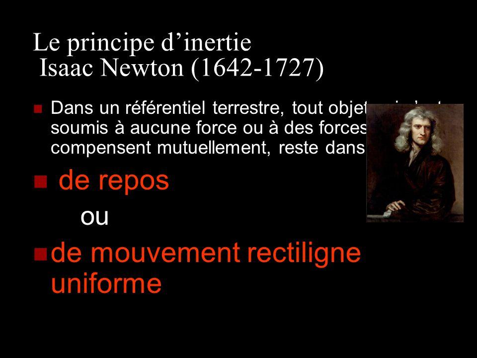 Le principe dinertie Isaac Newton (1642-1727) Dans un référentiel terrestre, tout objet qui nest soumis à aucune force ou à des forces qui se compense