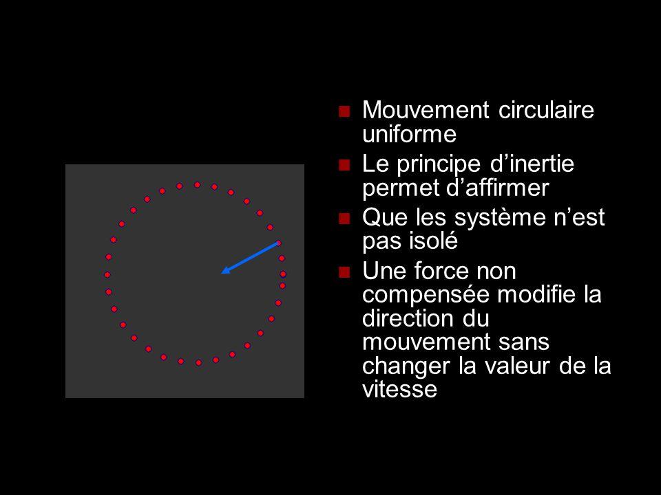 Mouvement circulaire uniforme Le principe dinertie permet daffirmer Que les système nest pas isolé Une force non compensée modifie la direction du mou