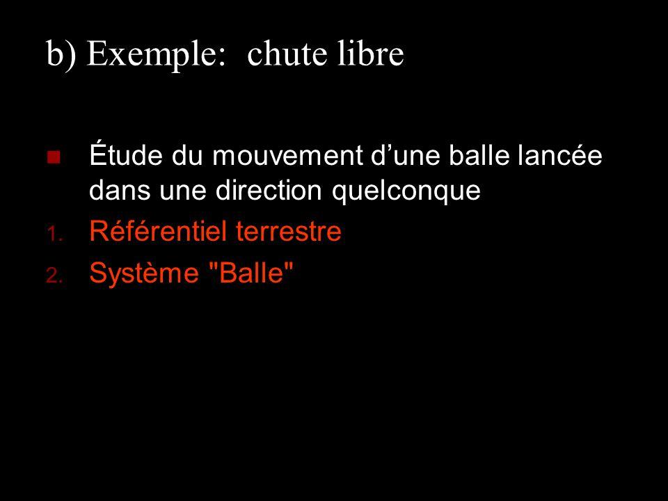 b) Exemple: chute libre Étude du mouvement dune balle lancée dans une direction quelconque 1. Référentiel terrestre 2. Système